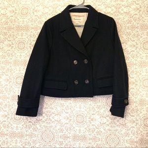 Cartonnier Navy Wool Crop Pea Coat